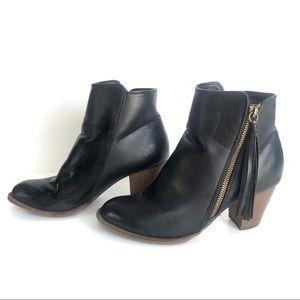 Nine West Heeled Bootie with Tassel Zip Black 7.5